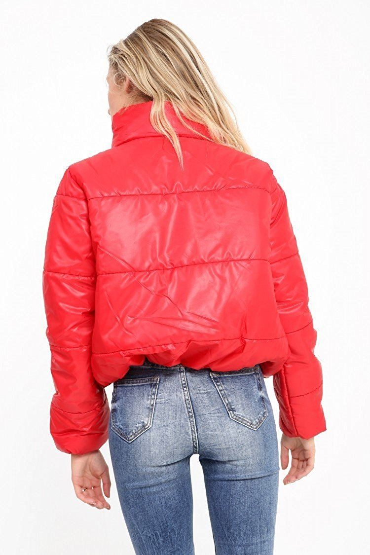 Womens Cropped Jacket Puffa Puffer Padded Quilted Warm