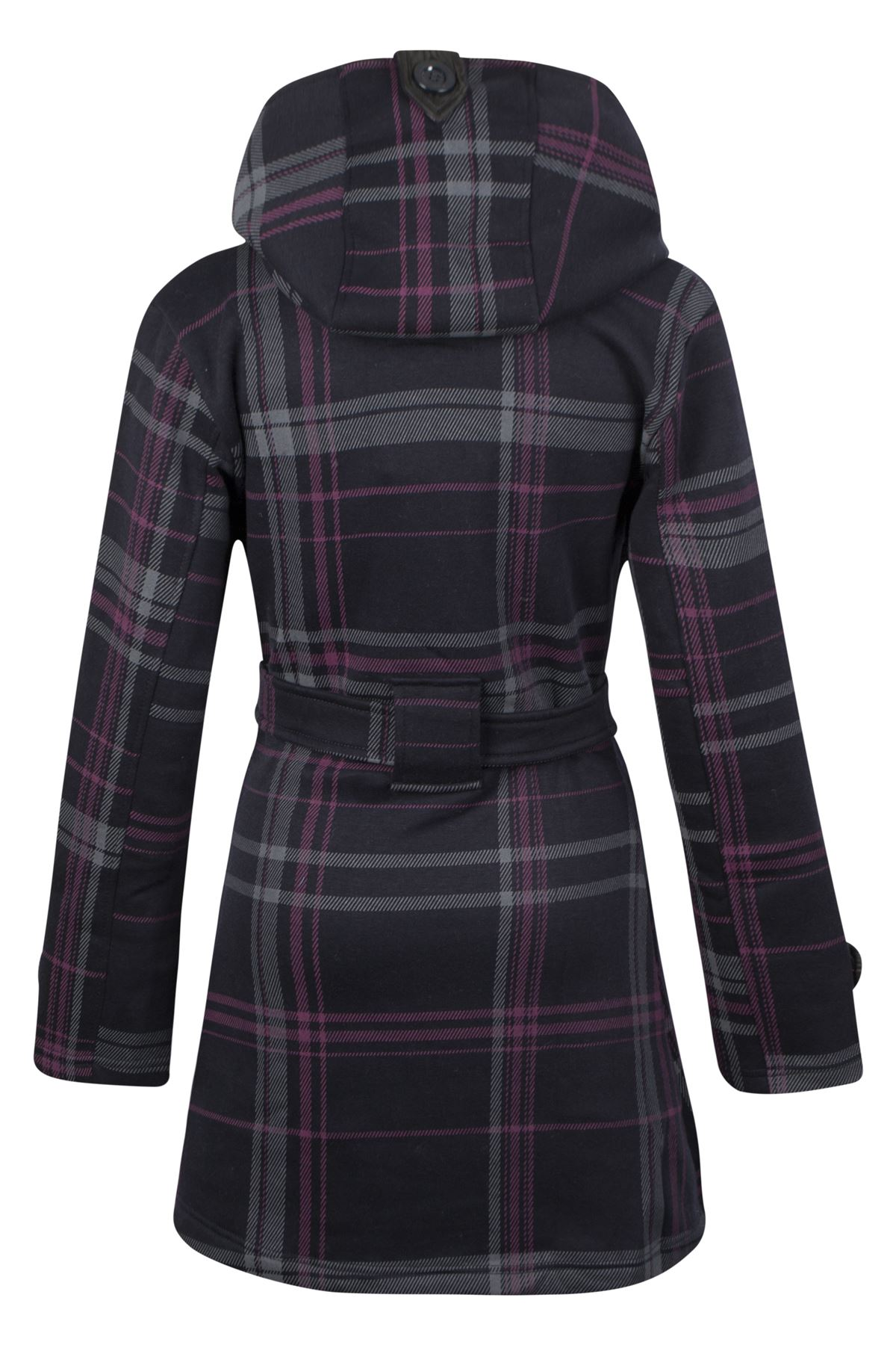 New-Womens-Button-Check-Hood-Coat-Hooded-Jacket-Fleece-Belted-Ladies-Size-UK8-14
