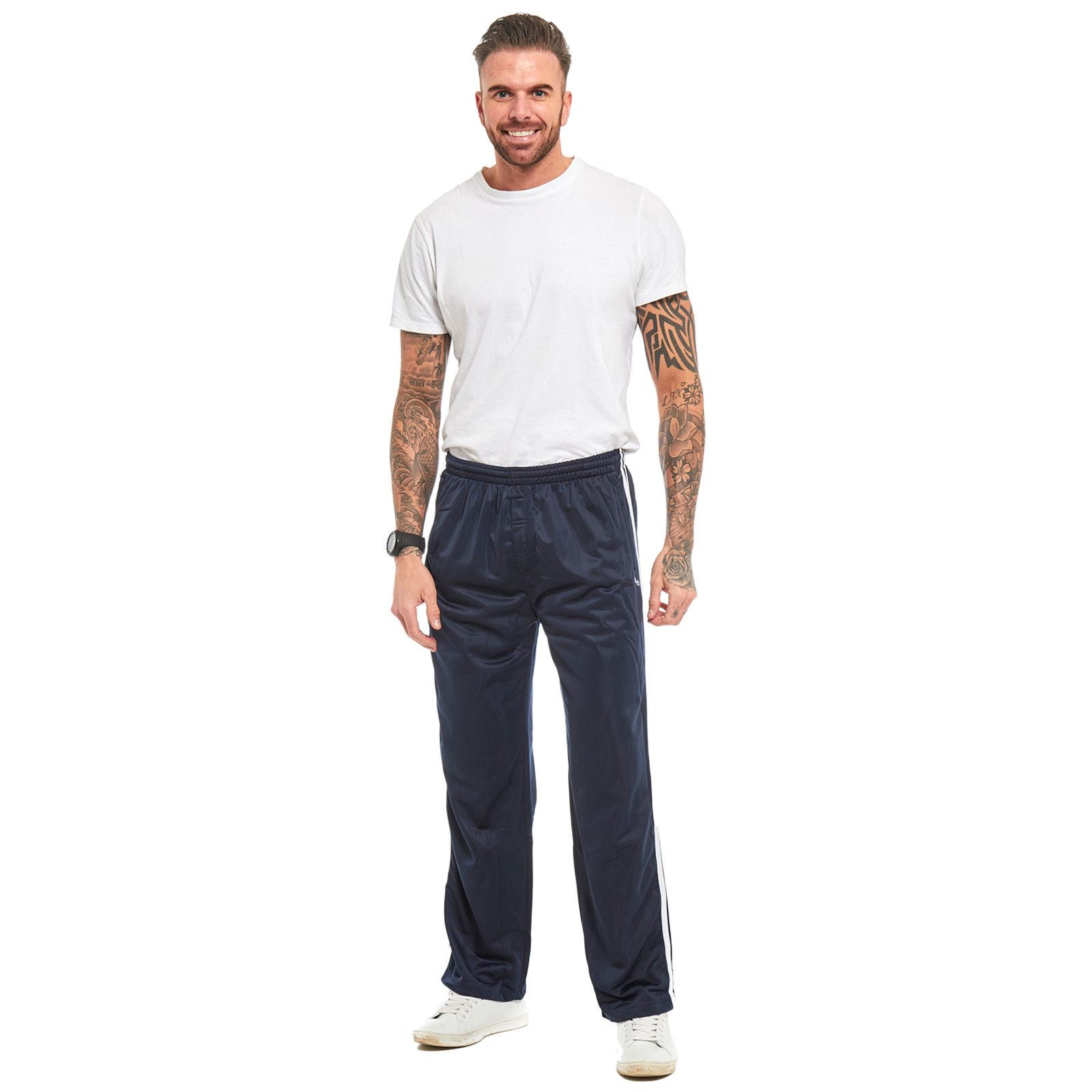 Mens-Tracksuit-Joggers-Jogging-Striped-Gym-Sports-Silky-Bottoms-Trousers-Pants thumbnail 18