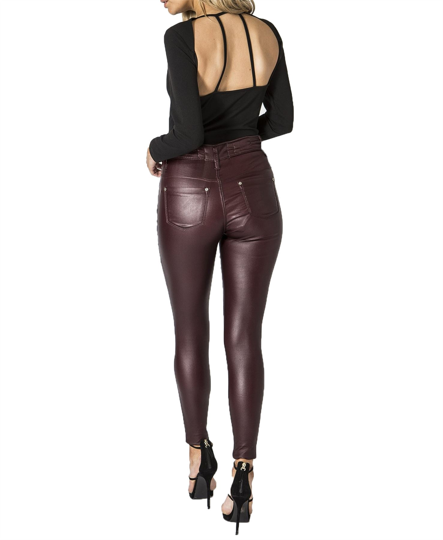 42ccf26cf3a9f Womens Sexy Wet Faux Look PU Stretch High Waisted Slim Fit Jeans ...