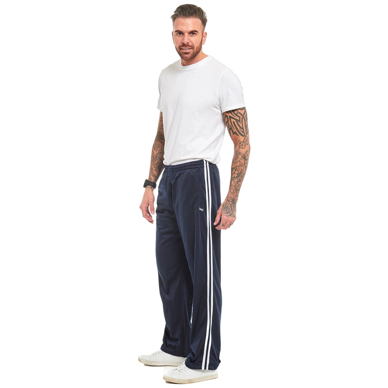 Mens-Tracksuit-Joggers-Jogging-Striped-Gym-Sports-Silky-Bottoms-Trousers-Pants thumbnail 13