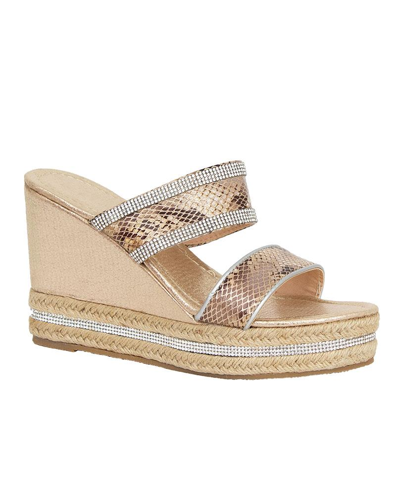 Shelikes-Womens-Sparkly-Wedge-Diamante-Slip-On-Summer-Beach-Holiday-Sandals thumbnail 6
