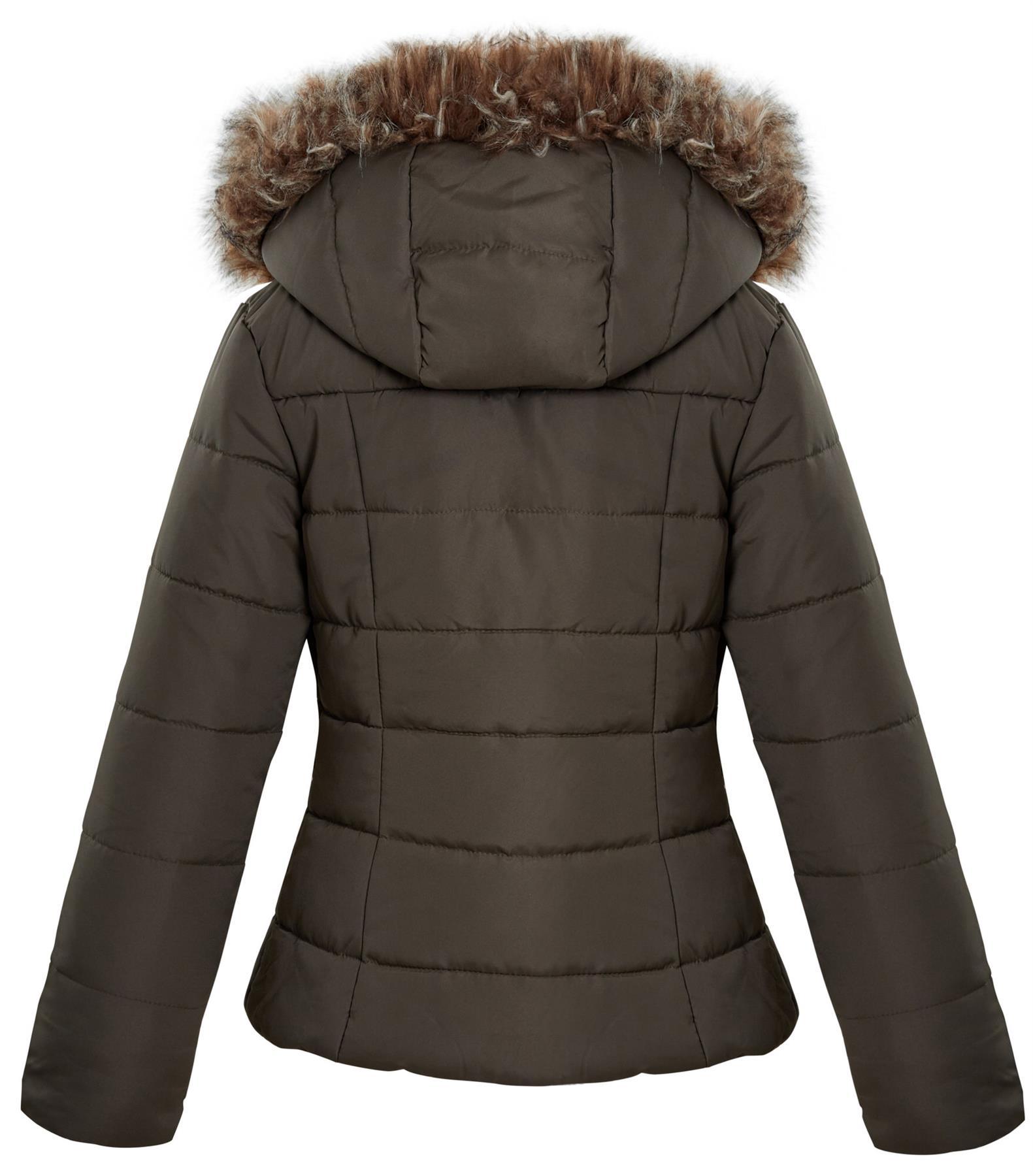 Shelikes-Ladies-Padded-Faux-Fur-Trim-Hood-Hooded-Jacket-Winter-Coat-Size-6-to-16 miniatuur 10
