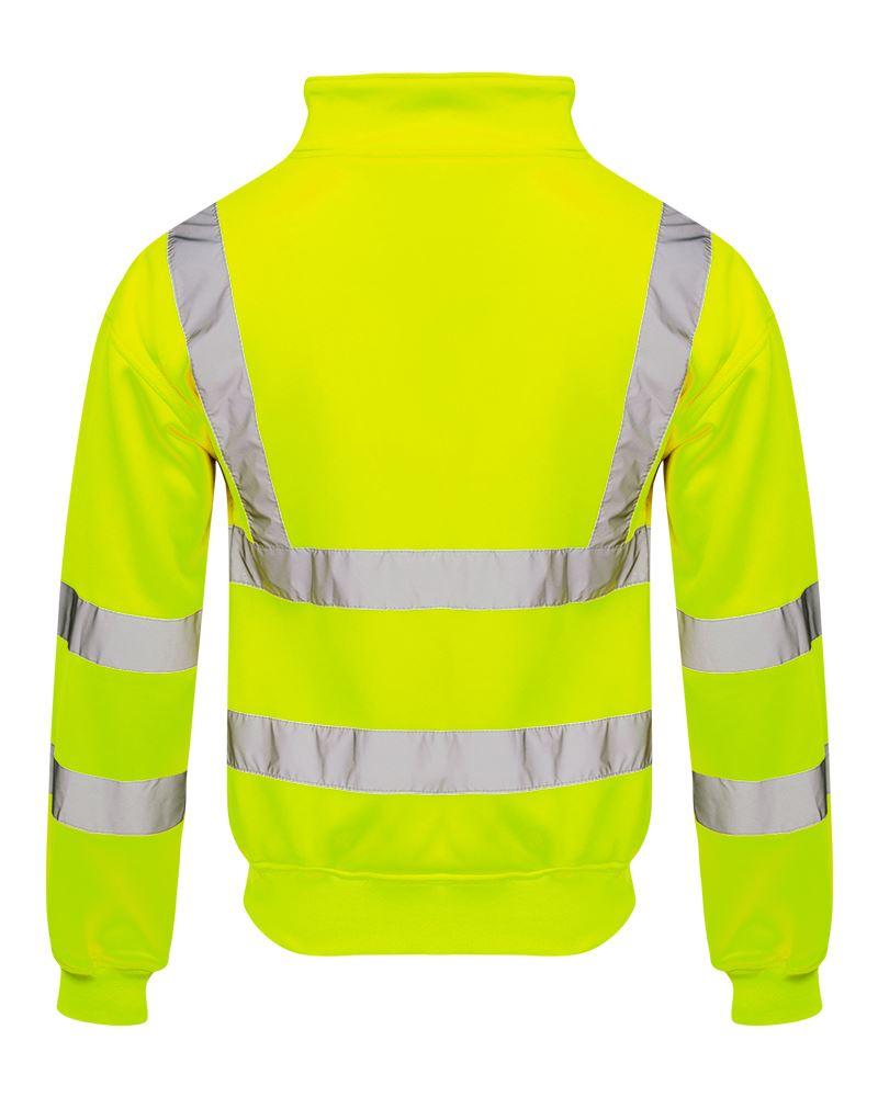 Mens-Quarter-Zip-Hi-Vis-Long-Sleeve-Fleece-2-Two-Tone-Sweatshirt-Jumper-Top thumbnail 9