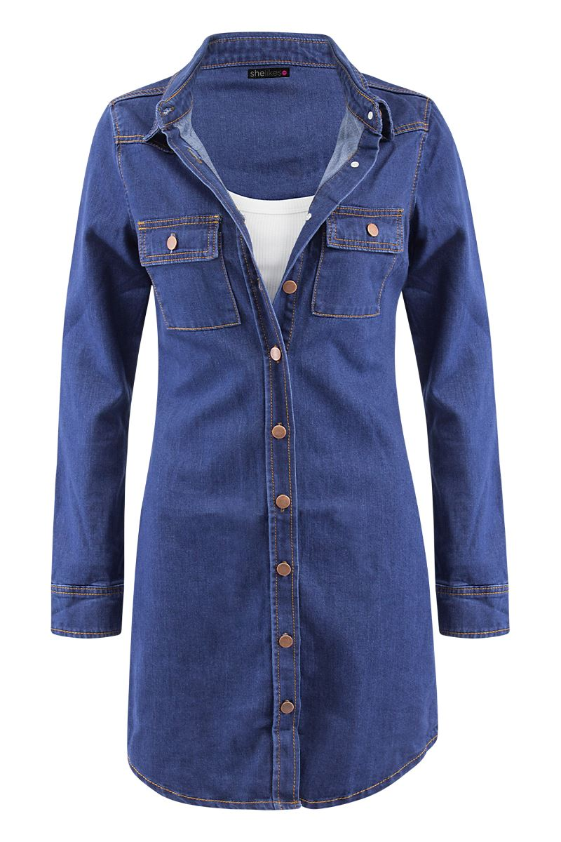 Womens Casual Cotton Button Down Vintage Long Sleeve Denim