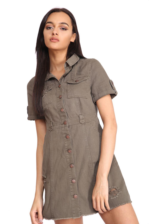 Fabulous New Womens Distressed Look Denim Button Up Short Sleeve Safari  KV68