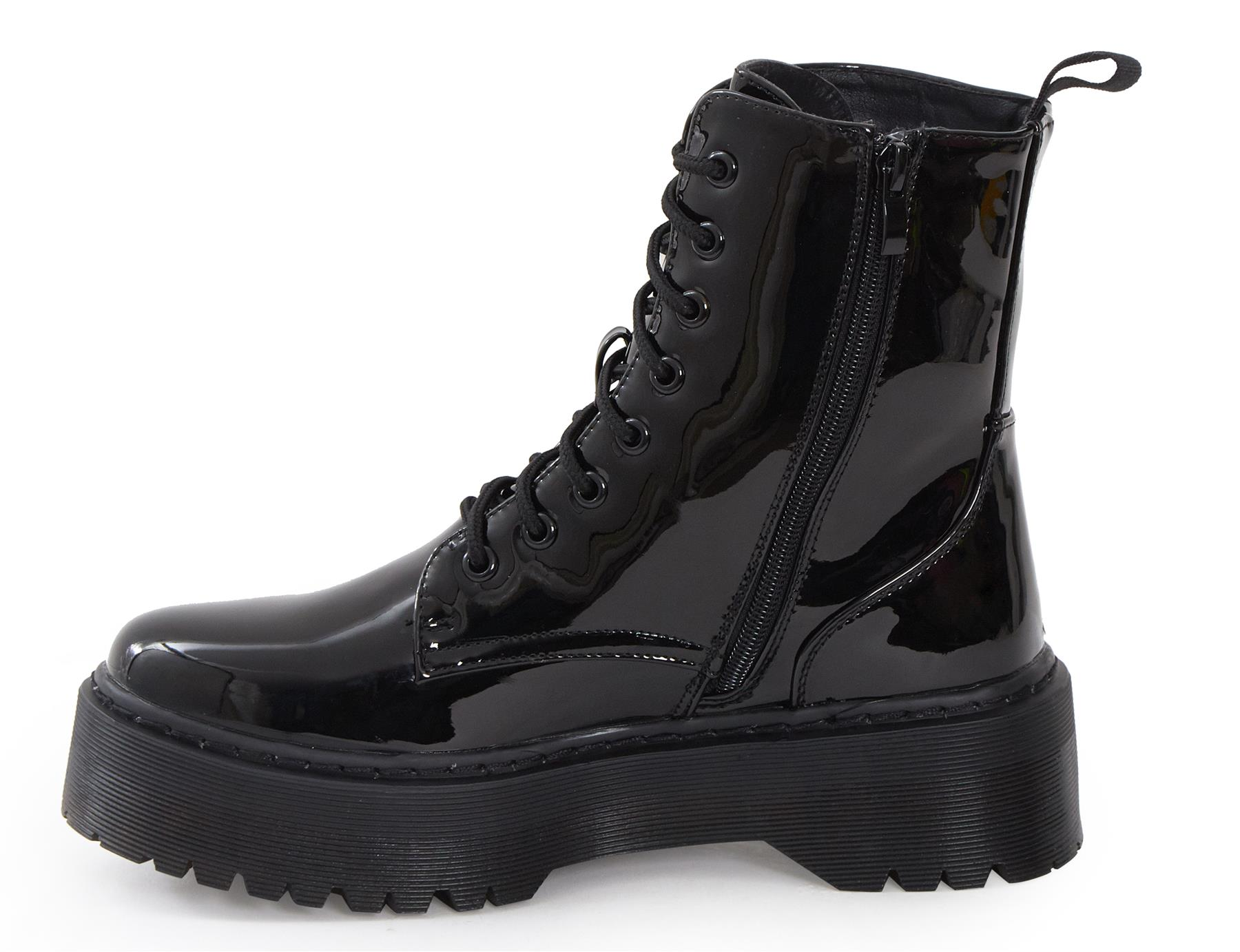 Womens-HiTop-Platform-Military-Punk-Biker-Ankle-PU-Leather-Lace-Up-Vintage-Boots thumbnail 5