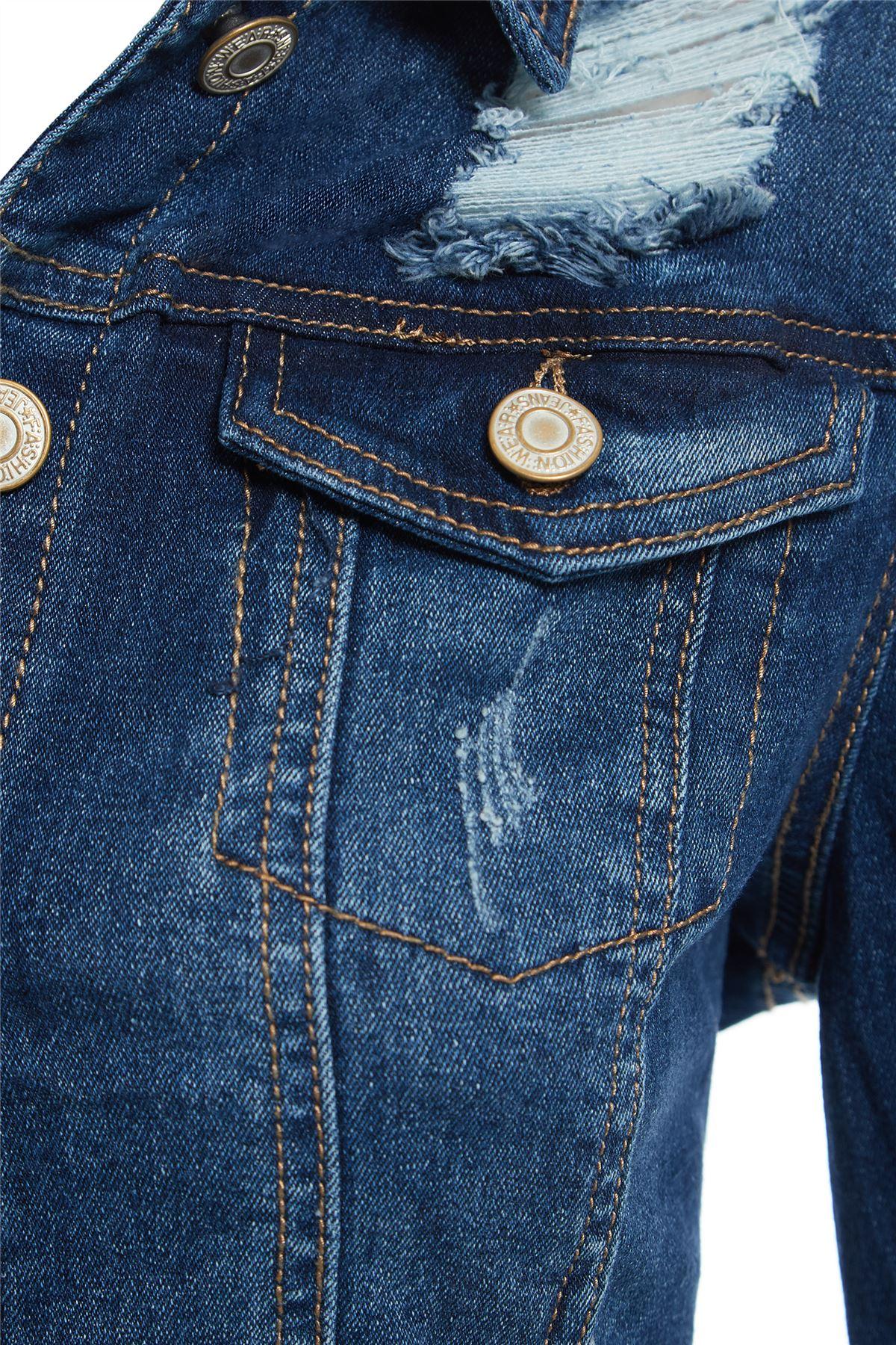 Haut-femme-a-manches-longues-denim-Celeb-detresse-dechire-Veste-Taille-8-14 miniature 4