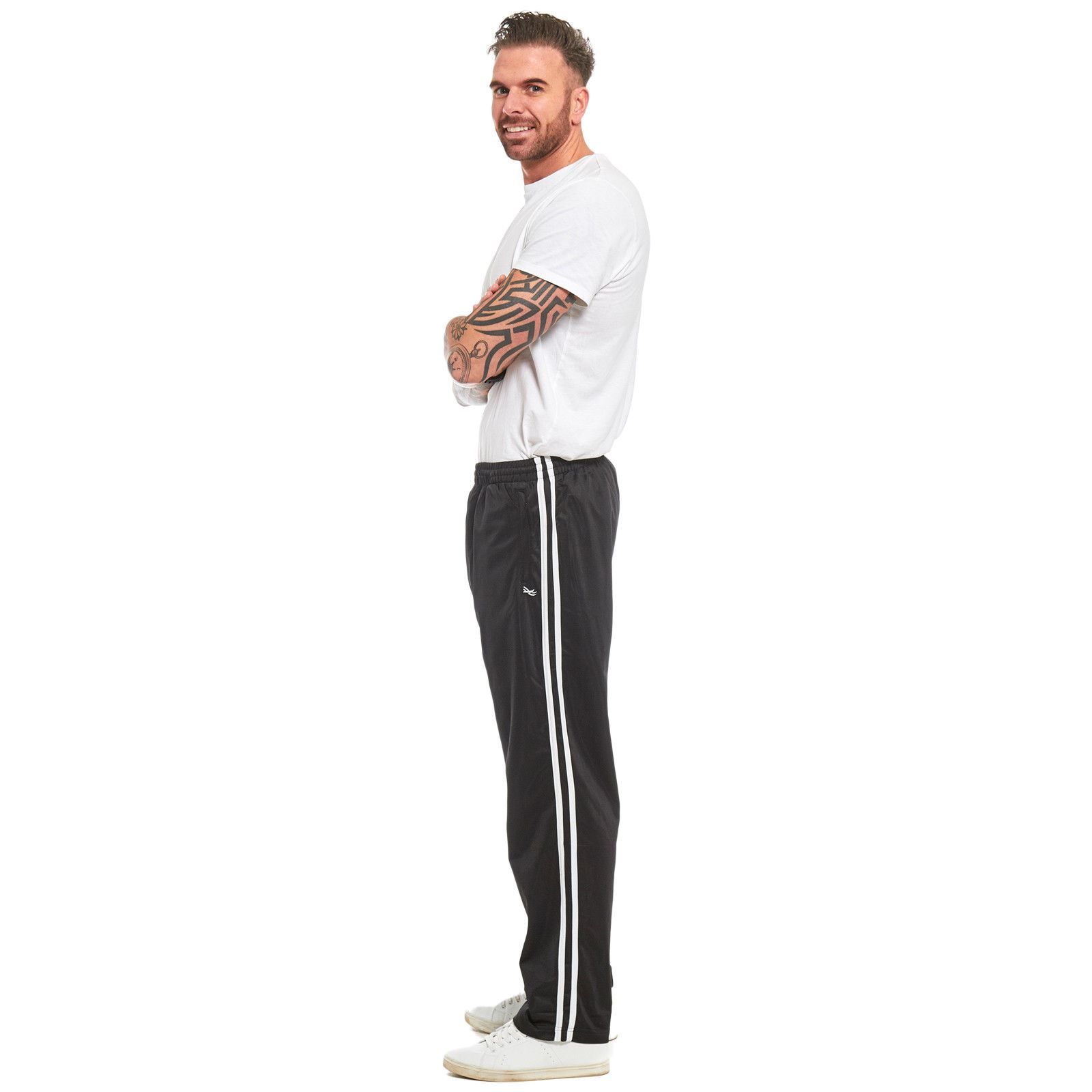 Mens-Tracksuit-Joggers-Jogging-Striped-Gym-Sports-Silky-Bottoms-Trousers-Pants thumbnail 8
