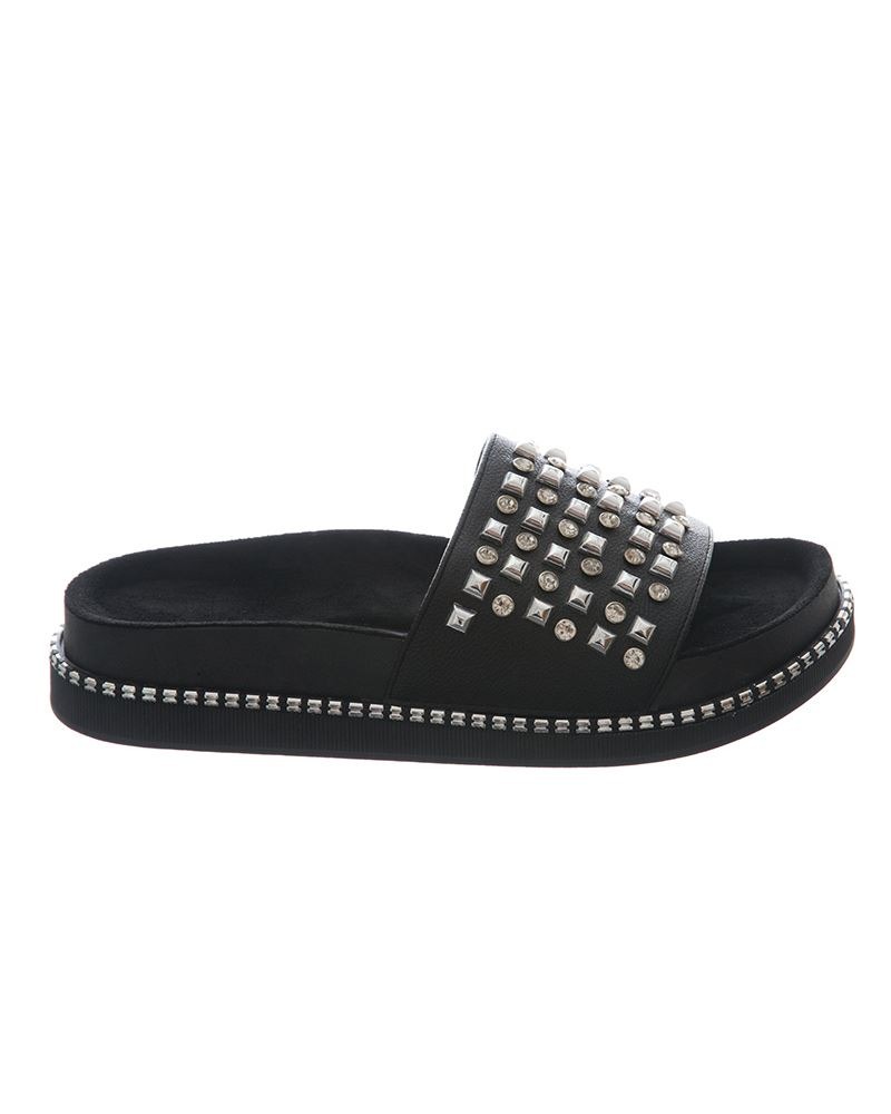 Womens-Sliders-Ladies-Stud-Studded-Flip-Flops-Slip-On-Slipper-Shoes thumbnail 4