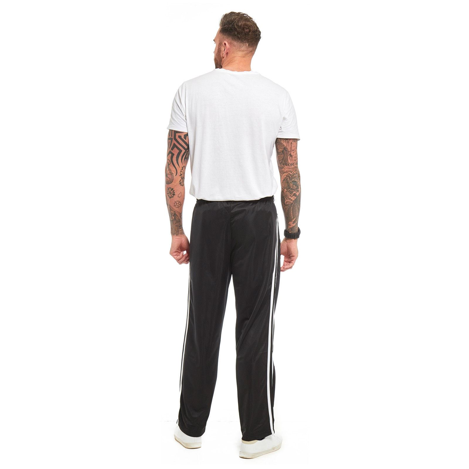 Mens-Tracksuit-Joggers-Jogging-Striped-Gym-Sports-Silky-Bottoms-Trousers-Pants thumbnail 5