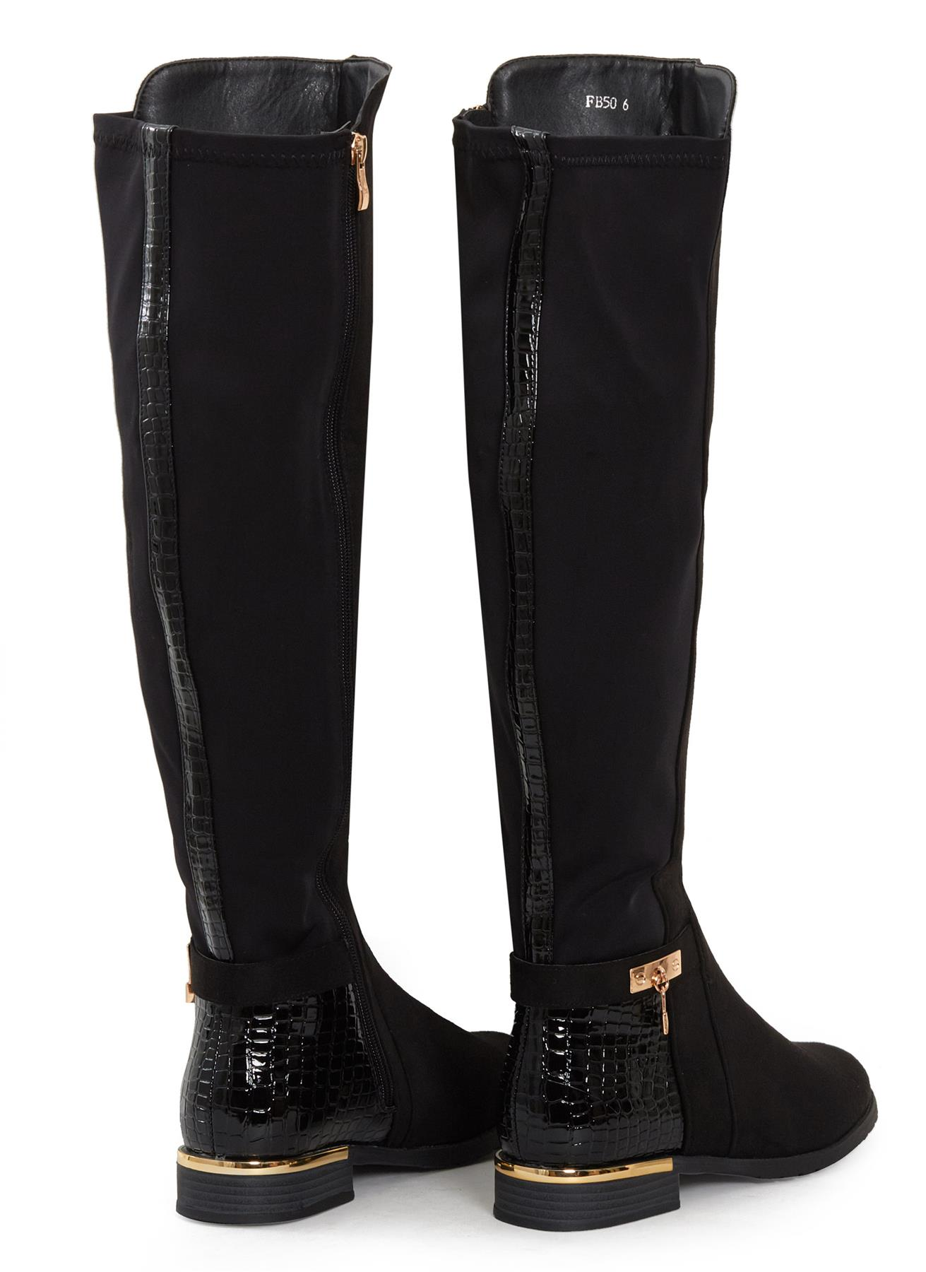 Womens-Ladies-Knee-High-Gold-Detail-Low-Block-Heel-Zip-Up-PU-Suede-Black-Boots thumbnail 11