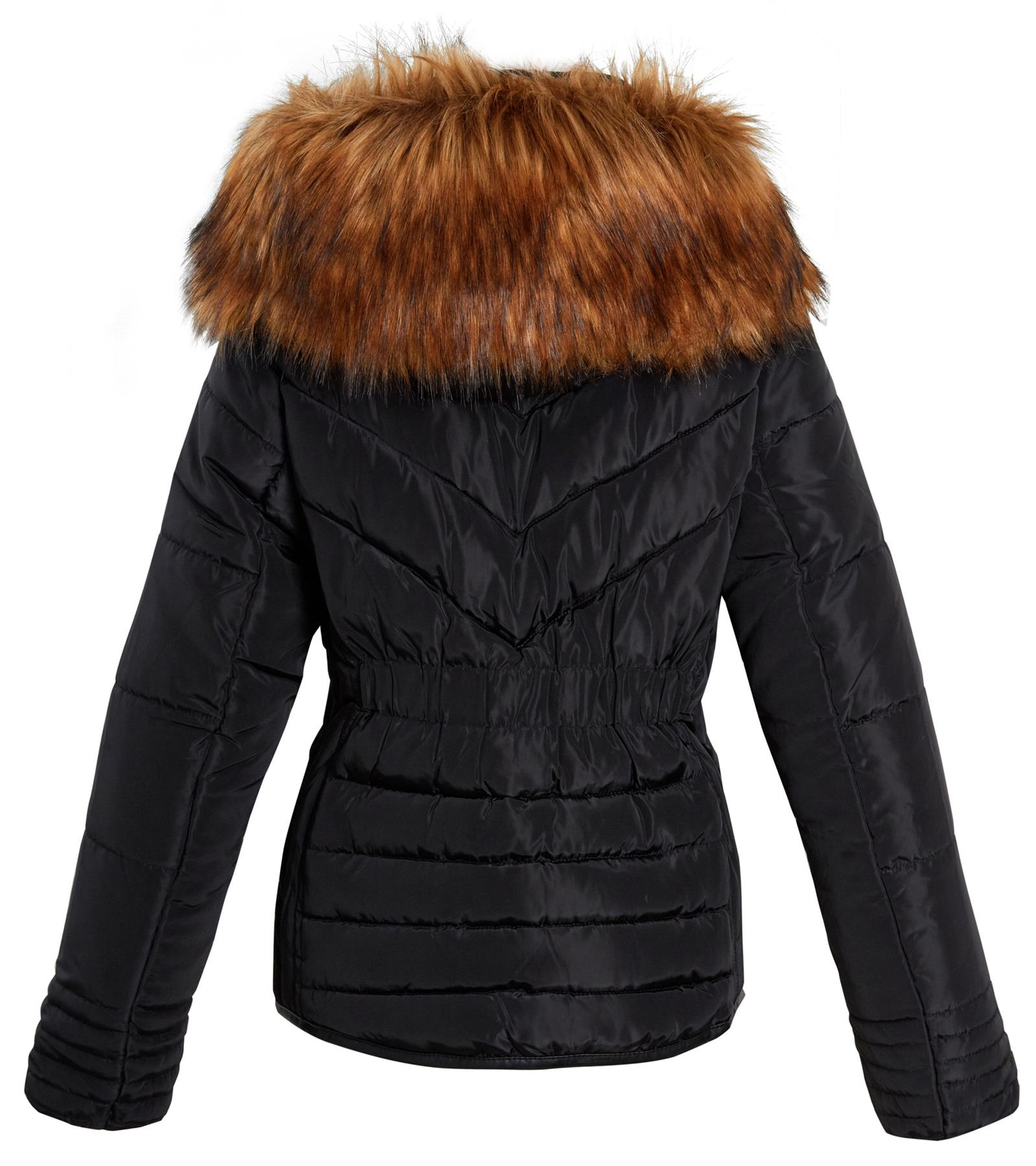 Shelikes-Womens-Ladies-Quilted-Padded-Winter-Warm-Fur-Parka-Jacket thumbnail 4