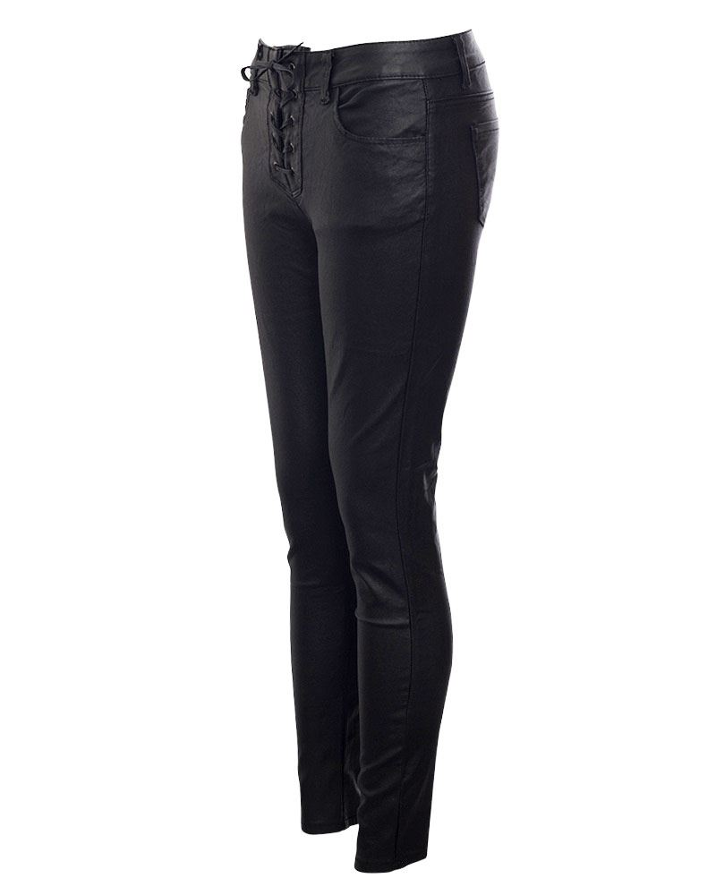 Women's Clothing Womens PU Wet Look Lace UP High Waisted Faux Leather Skinny Fit Jeans Trouser Trousers