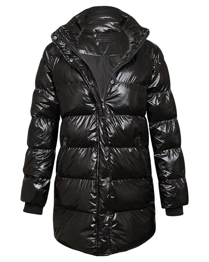 Details about New Womens High Shine Parka Coat Jacket Puffa Padded Warm Winter Zip Pocket Top