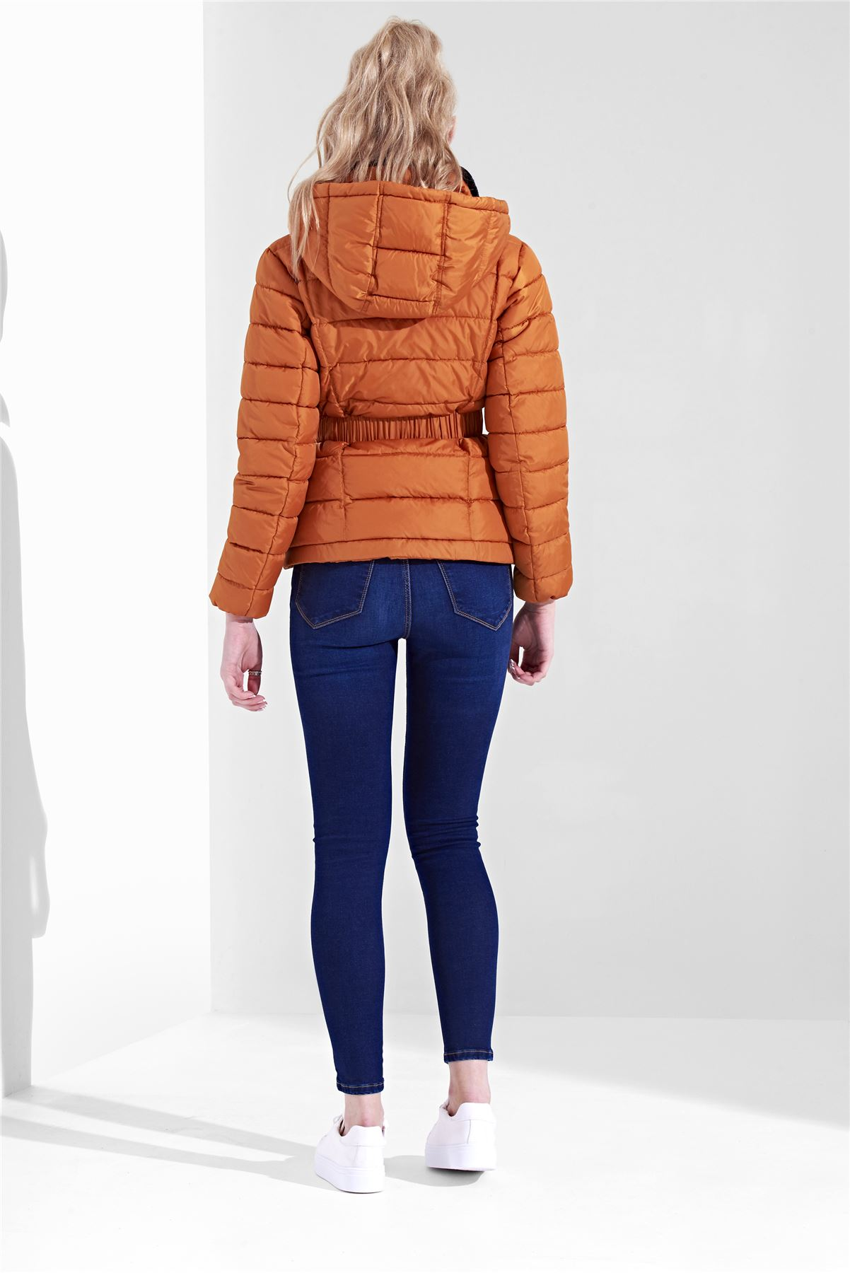 Womens-Ladies-Black-Hood-Belted-Fur-Collar-Zip-Up-Quilted-Puffer-Jacket-Coat thumbnail 7