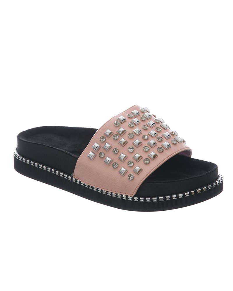 Womens-Sliders-Ladies-Stud-Studded-Flip-Flops-Slip-On-Slipper-Shoes thumbnail 6