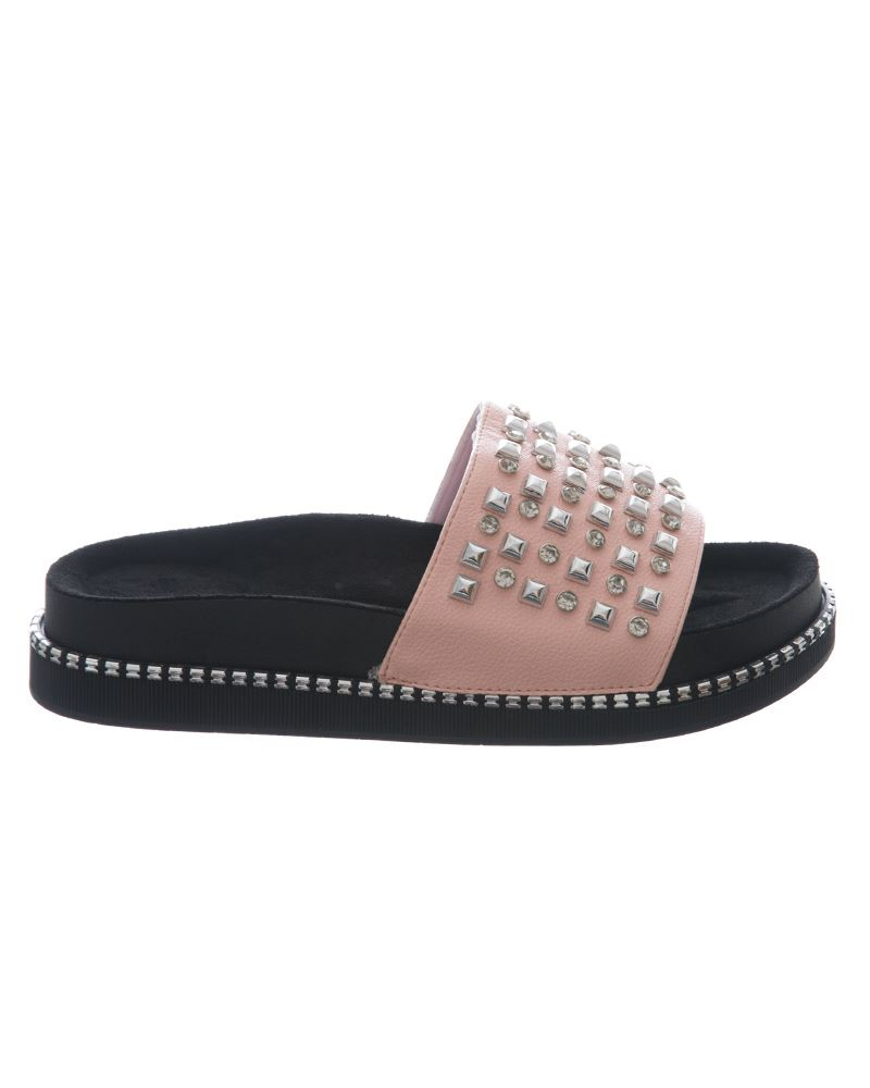 Womens-Sliders-Ladies-Stud-Studded-Flip-Flops-Slip-On-Slipper-Shoes thumbnail 7