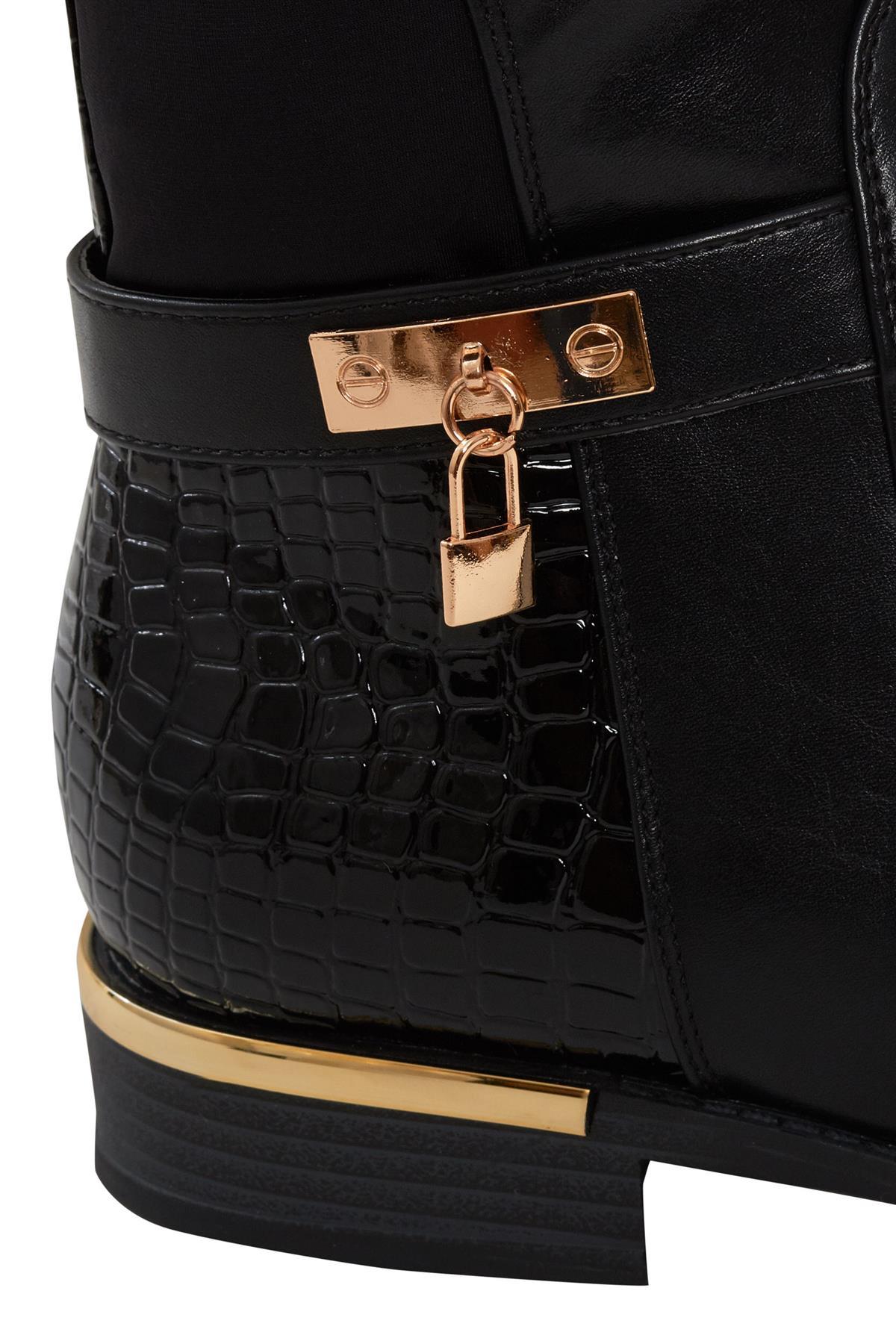 Womens-Ladies-Knee-High-Gold-Detail-Low-Block-Heel-Zip-Up-PU-Suede-Black-Boots thumbnail 4