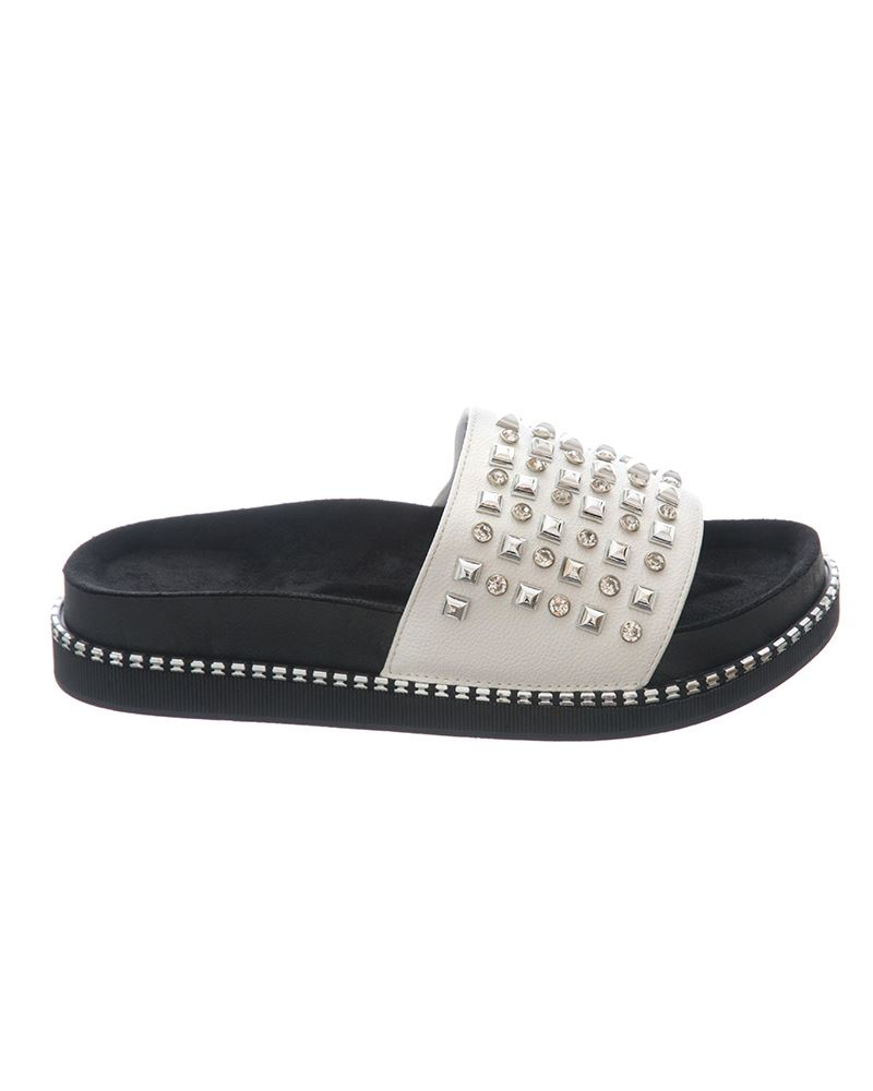 Womens-Sliders-Ladies-Stud-Studded-Flip-Flops-Slip-On-Slipper-Shoes thumbnail 10