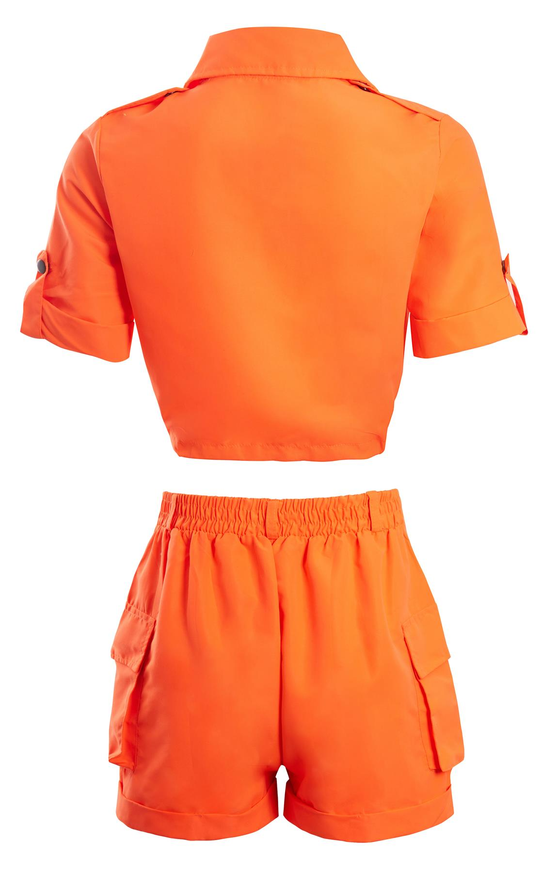 Shelikes-Womens-Cargo-Crop-Top-Shorts-Co-ord-Festival-Tie-Front-Pocket-Set thumbnail 19