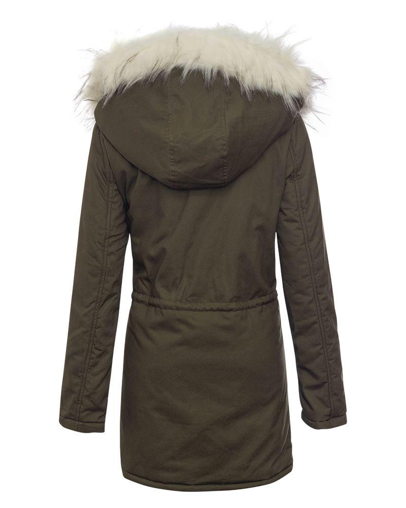 ritssluiting winterjas buitenjas Hooded Trim 16 faux Khaki wit Womens lange met fur Uk8 TfxSqpnU
