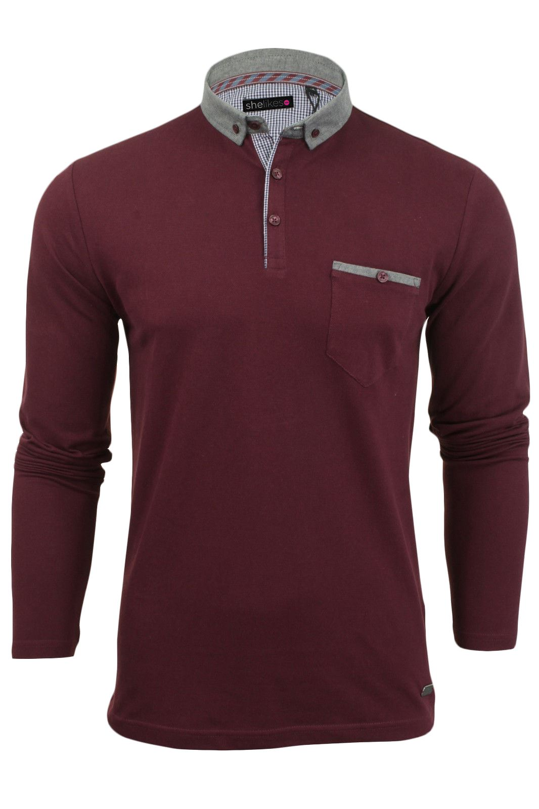 New mens button up long sleeve pique collared casual for Mens long sleeve collared polo shirts
