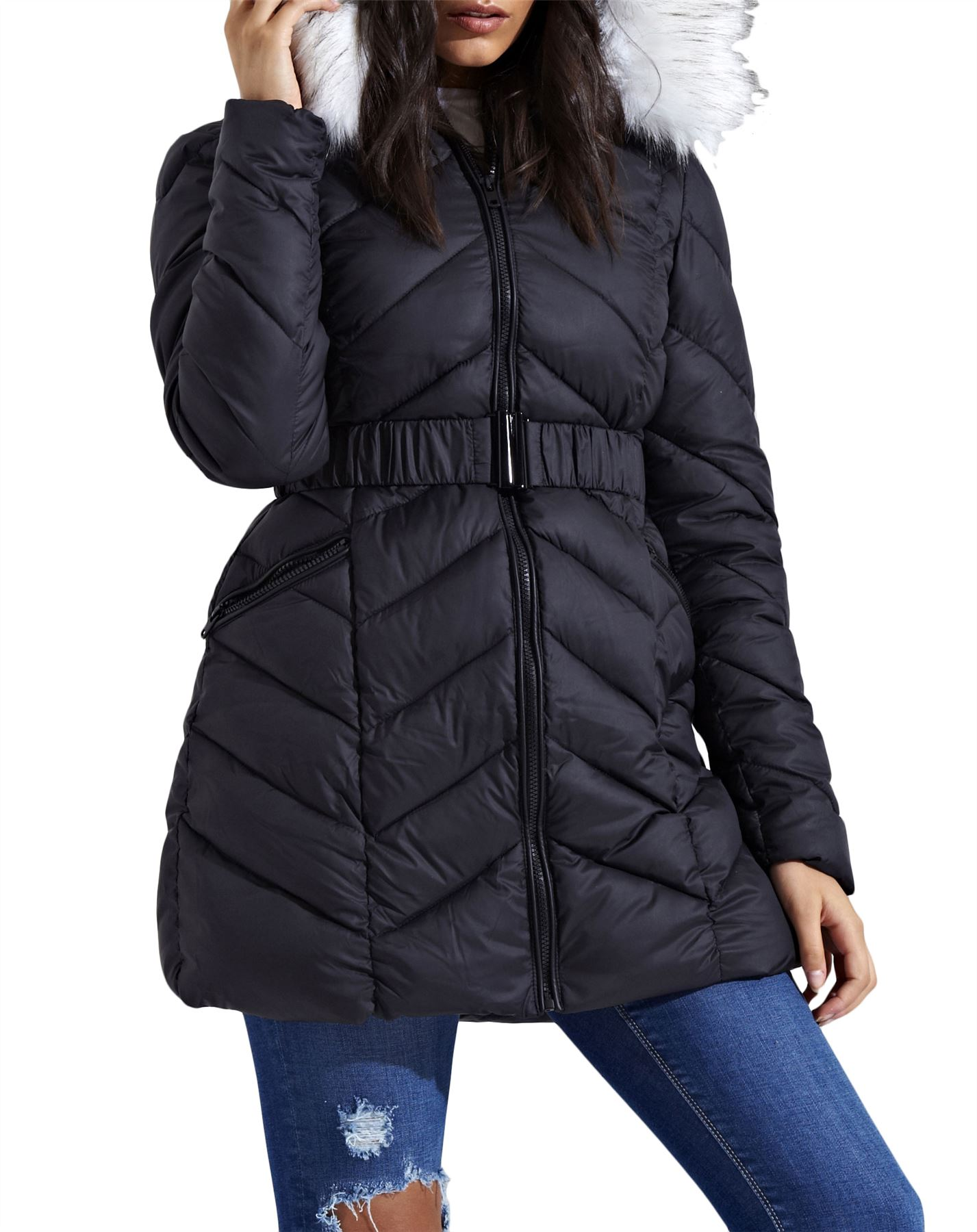 New Womens Long Fur Hood Zig Zag Quilted Puffer Padded