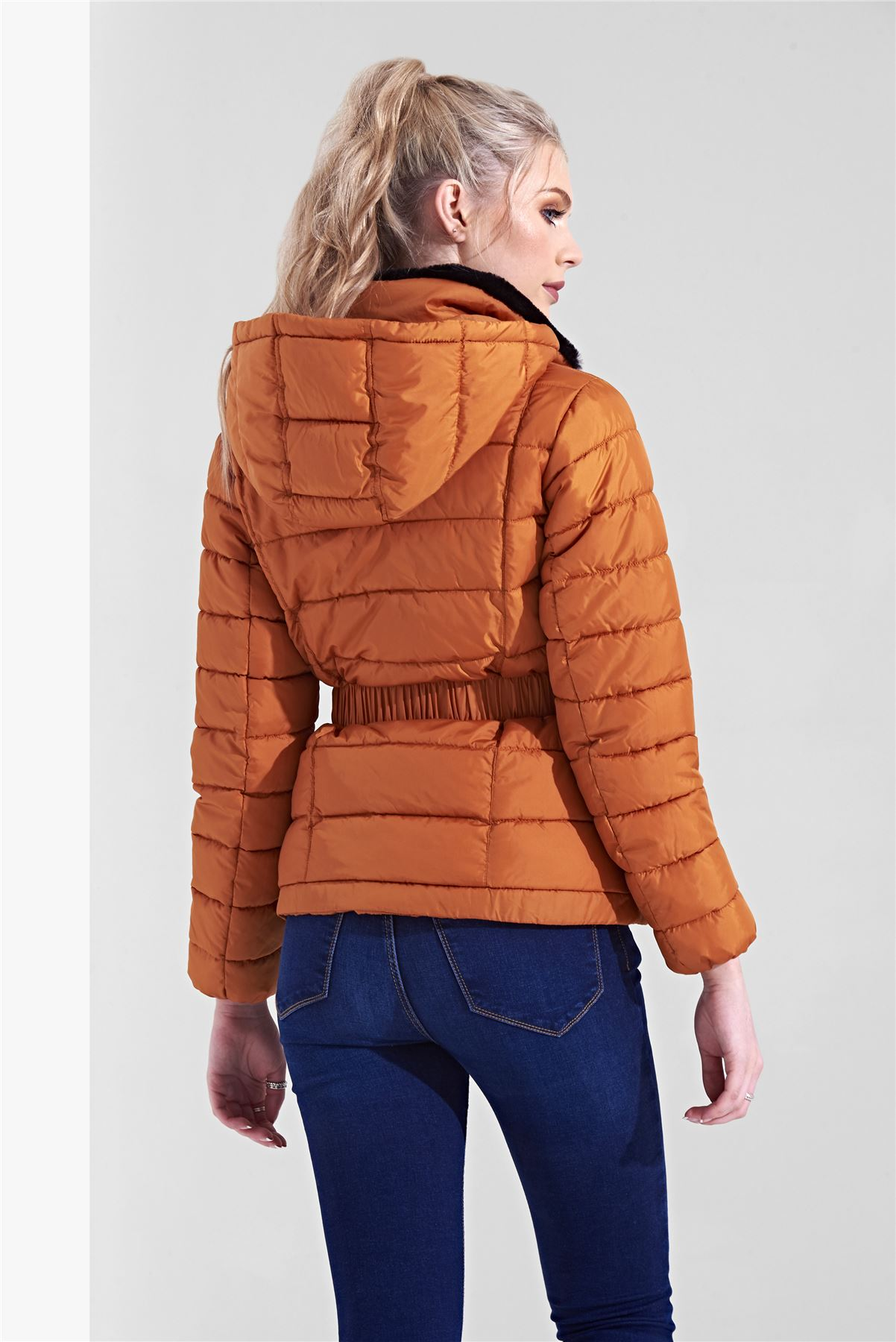 Womens-Ladies-Black-Hood-Belted-Fur-Collar-Zip-Up-Quilted-Puffer-Jacket-Coat thumbnail 6
