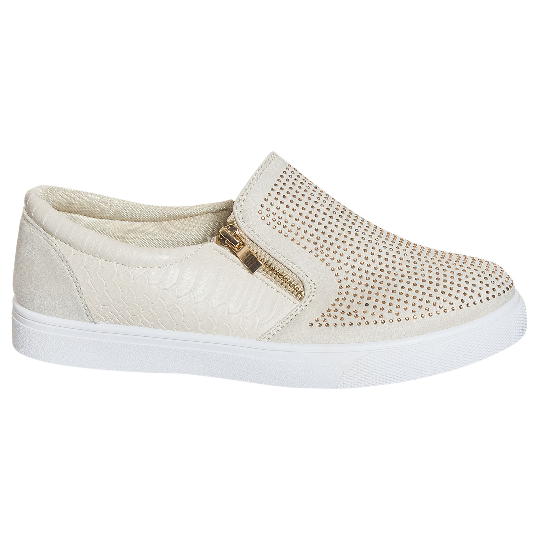 Ladies Skater Shoes Croc Style Zip Flat Slip On Womens Plimsolls Sneakers Trainers Pumps Loafer UO_2