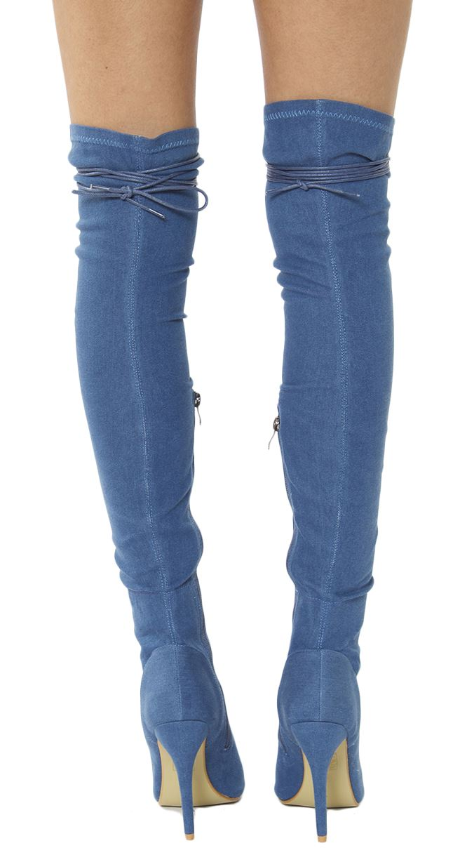 new womens front lace thigh high stiletto heel boots ebay