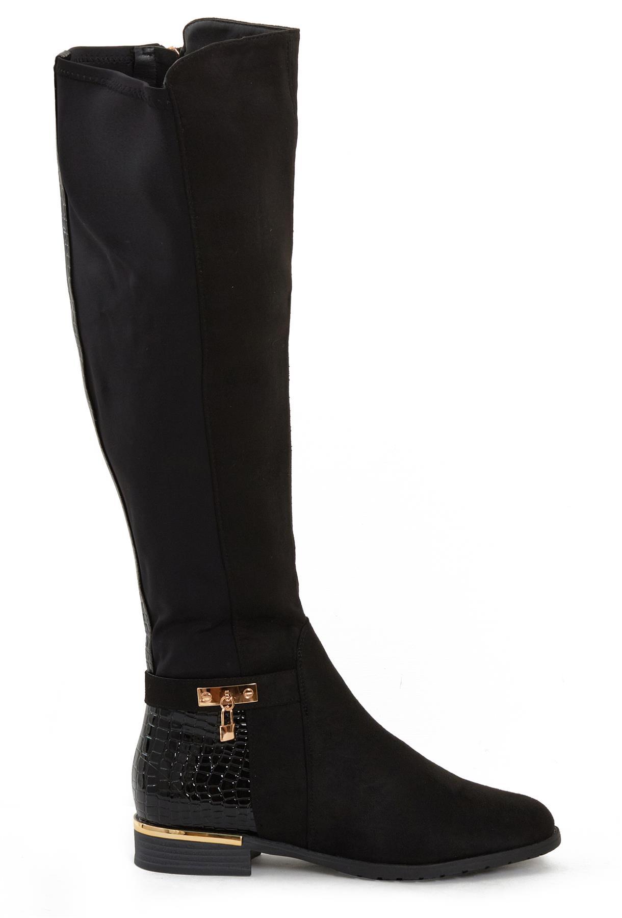 Womens-Ladies-Knee-High-Gold-Detail-Low-Block-Heel-Zip-Up-PU-Suede-Black-Boots thumbnail 8