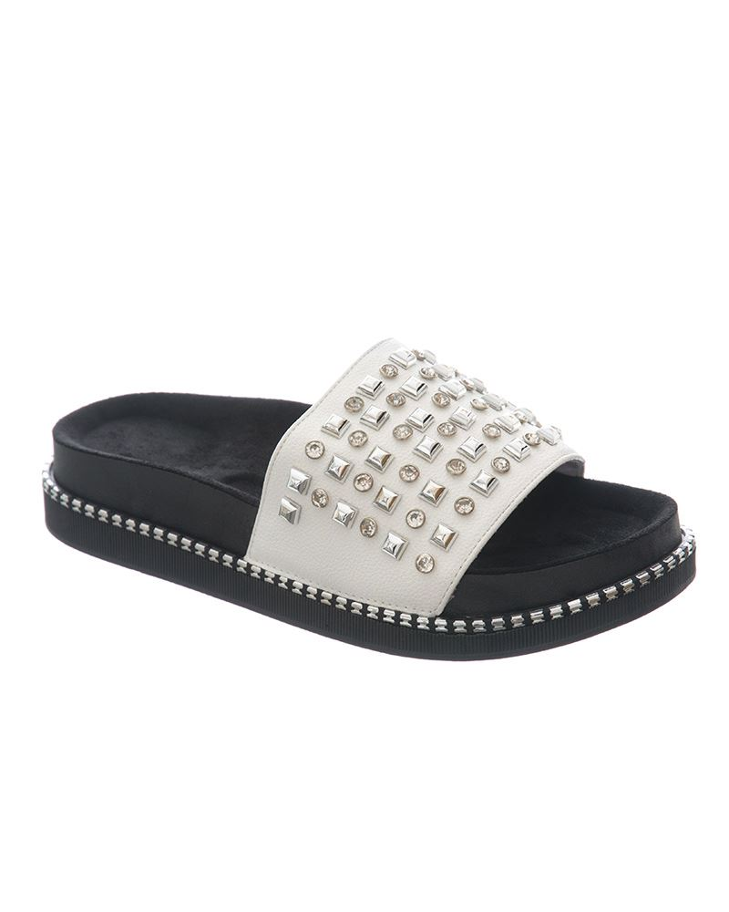 Womens-Sliders-Ladies-Stud-Studded-Flip-Flops-Slip-On-Slipper-Shoes thumbnail 9