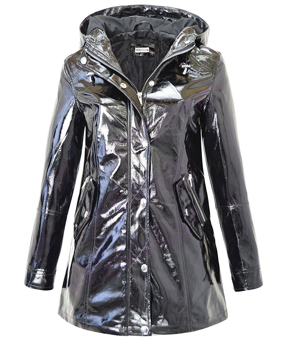 métallisé brillant noir Mac Festival imperméable imperméable Coat femme pour Veste 8qzawa