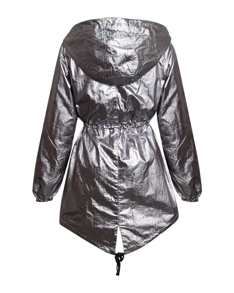Womens-Ladies-Silver-Metallic-Parachute-Style-Parka-Jacket-Lightweight-Coat thumbnail 3