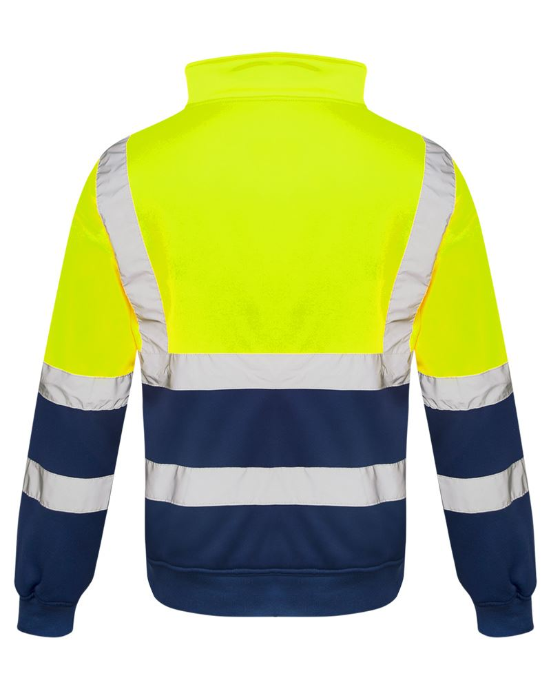 Mens-Quarter-Zip-Hi-Vis-Long-Sleeve-Fleece-2-Two-Tone-Sweatshirt-Jumper-Top thumbnail 7