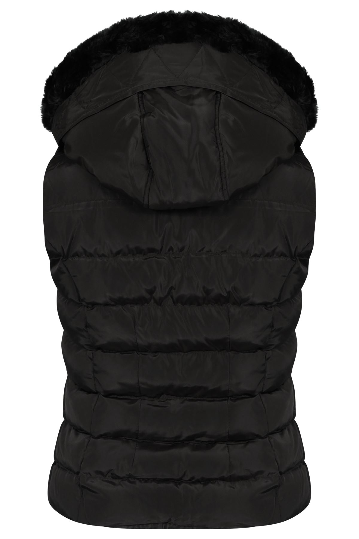 Womens Quilted Bodywarmer Coat Puffer Faux Fur Hooded