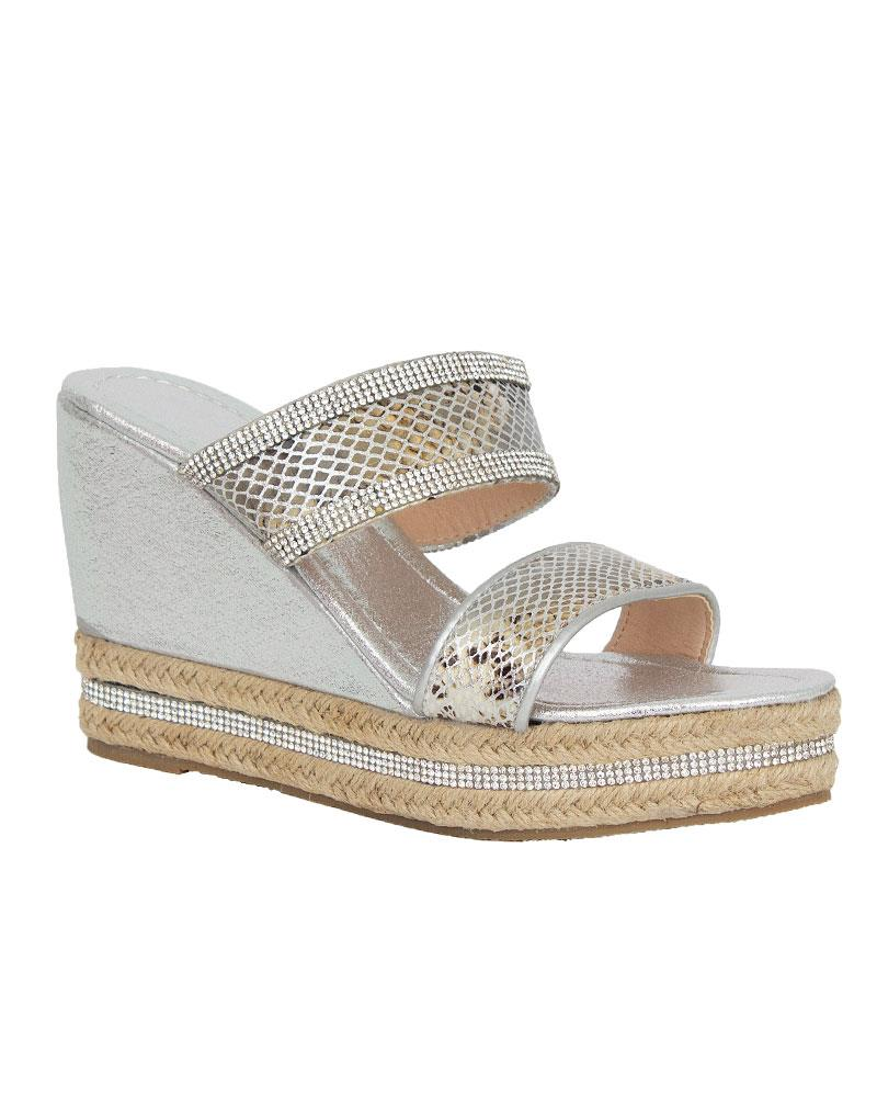 Shelikes-Womens-Sparkly-Wedge-Diamante-Slip-On-Summer-Beach-Holiday-Sandals thumbnail 12