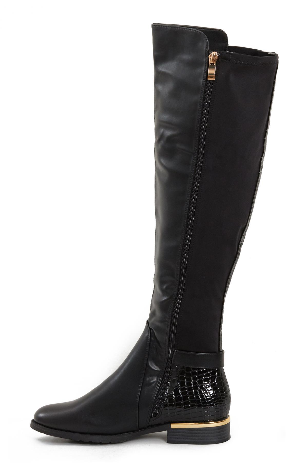 Womens-Ladies-Knee-High-Gold-Detail-Low-Block-Heel-Zip-Up-PU-Suede-Black-Boots thumbnail 5
