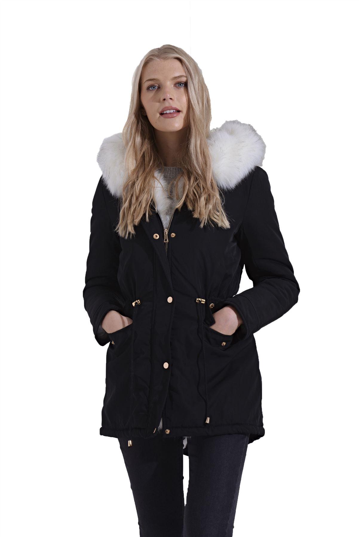 Chaqueta de invierno con cremallera blanca para mujer Abrigo de forro de piel sintética negro con capucha negro