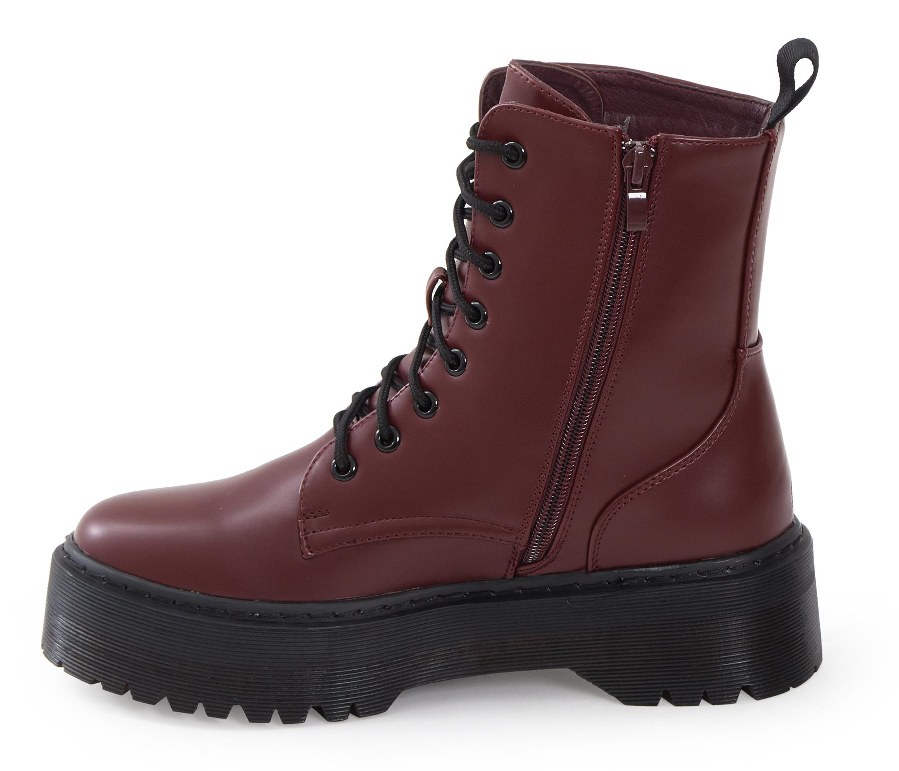 Womens-HiTop-Platform-Military-Punk-Biker-Ankle-PU-Leather-Lace-Up-Vintage-Boots thumbnail 21