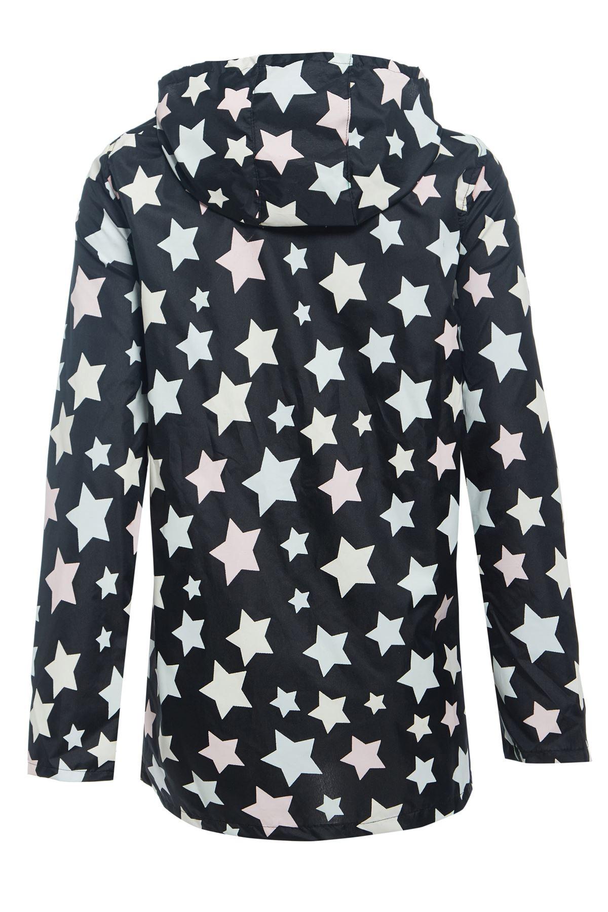 Noire Étoiles De Pluie Veste Cagoule Avec Capuche Kagool Et À Légère dxFX0w06q
