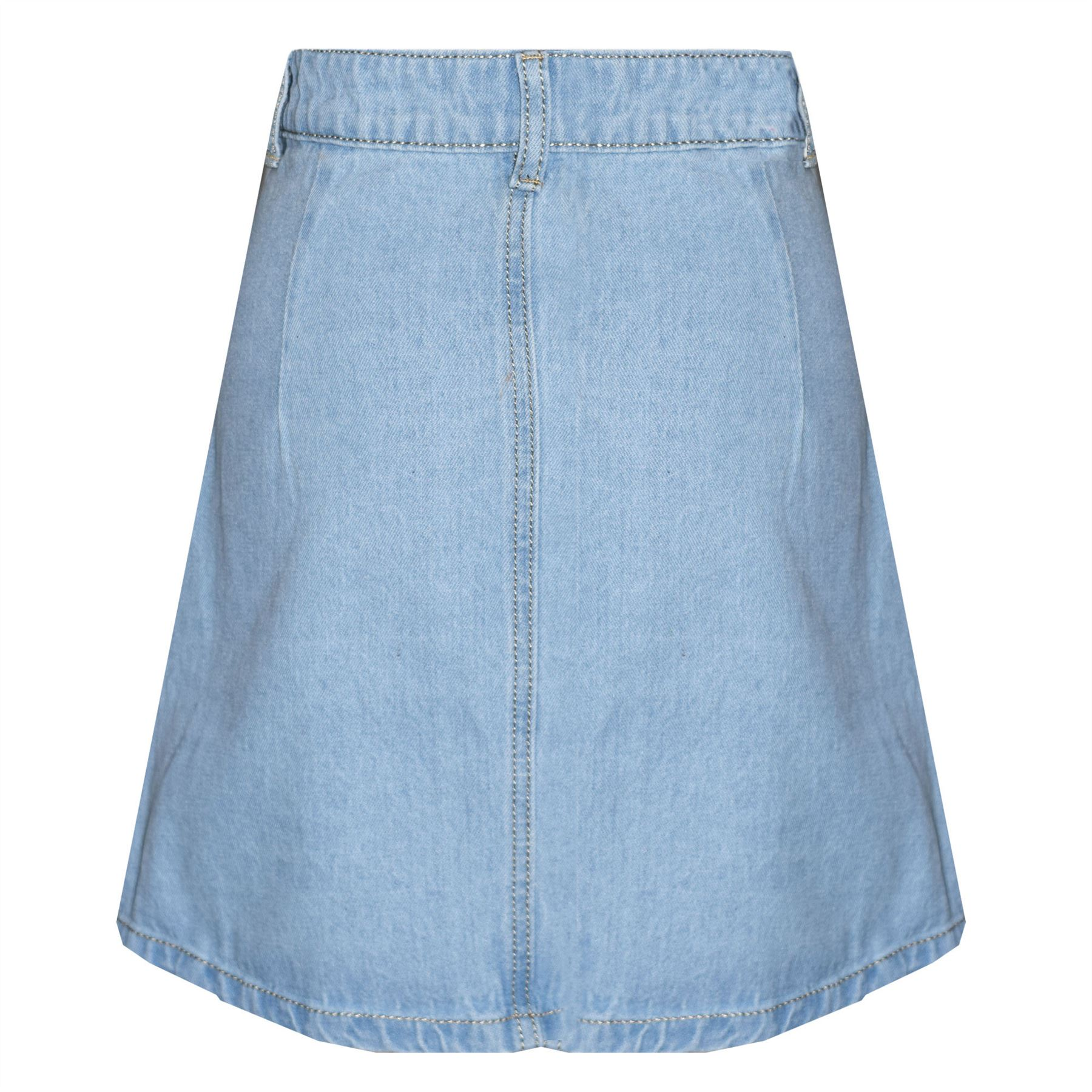 New-Womens-Ladies-Fashionable-Button-Front-High-Waisted-Jeans-Denim-Mini-Skirt