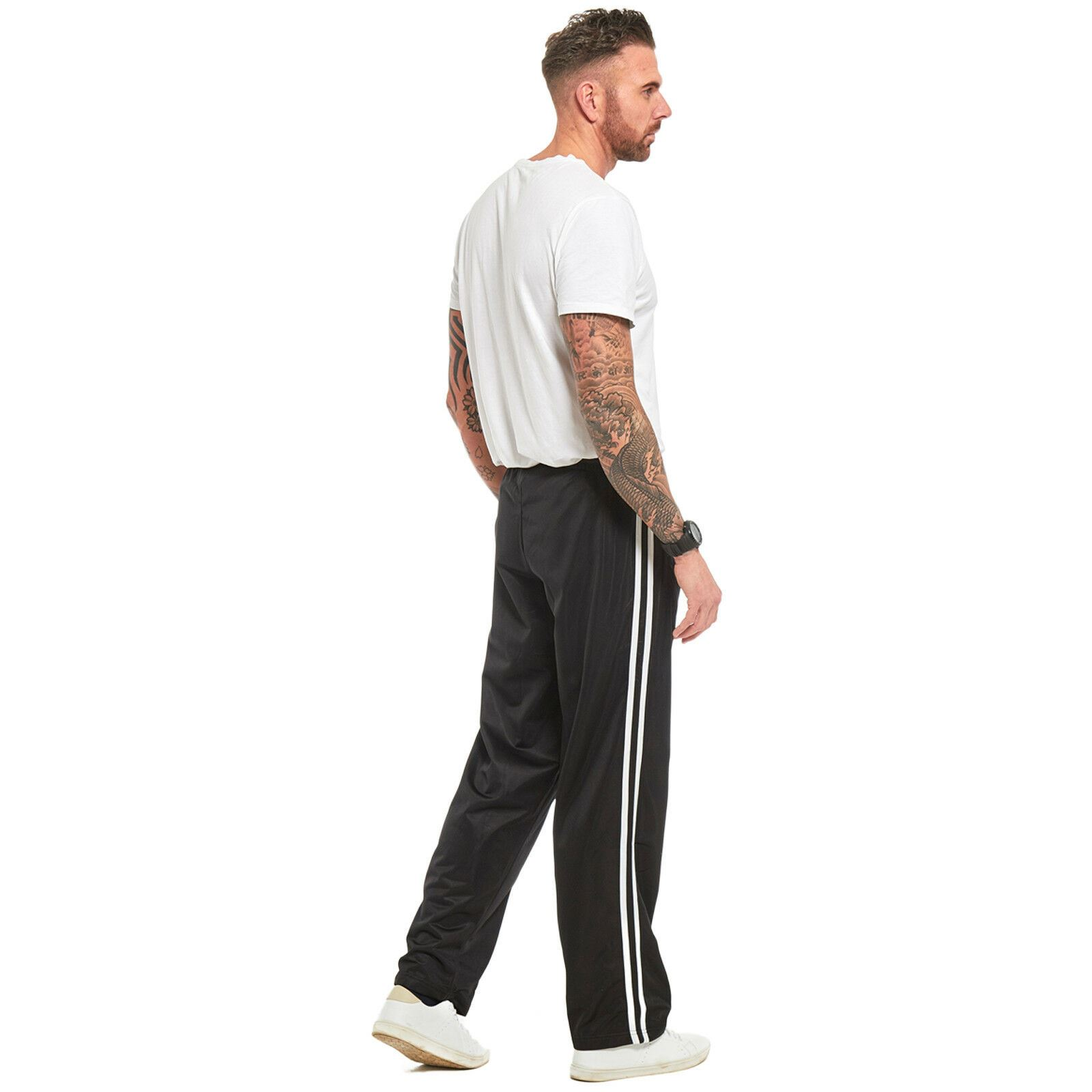 Mens-Tracksuit-Joggers-Jogging-Striped-Gym-Sports-Silky-Bottoms-Trousers-Pants thumbnail 10
