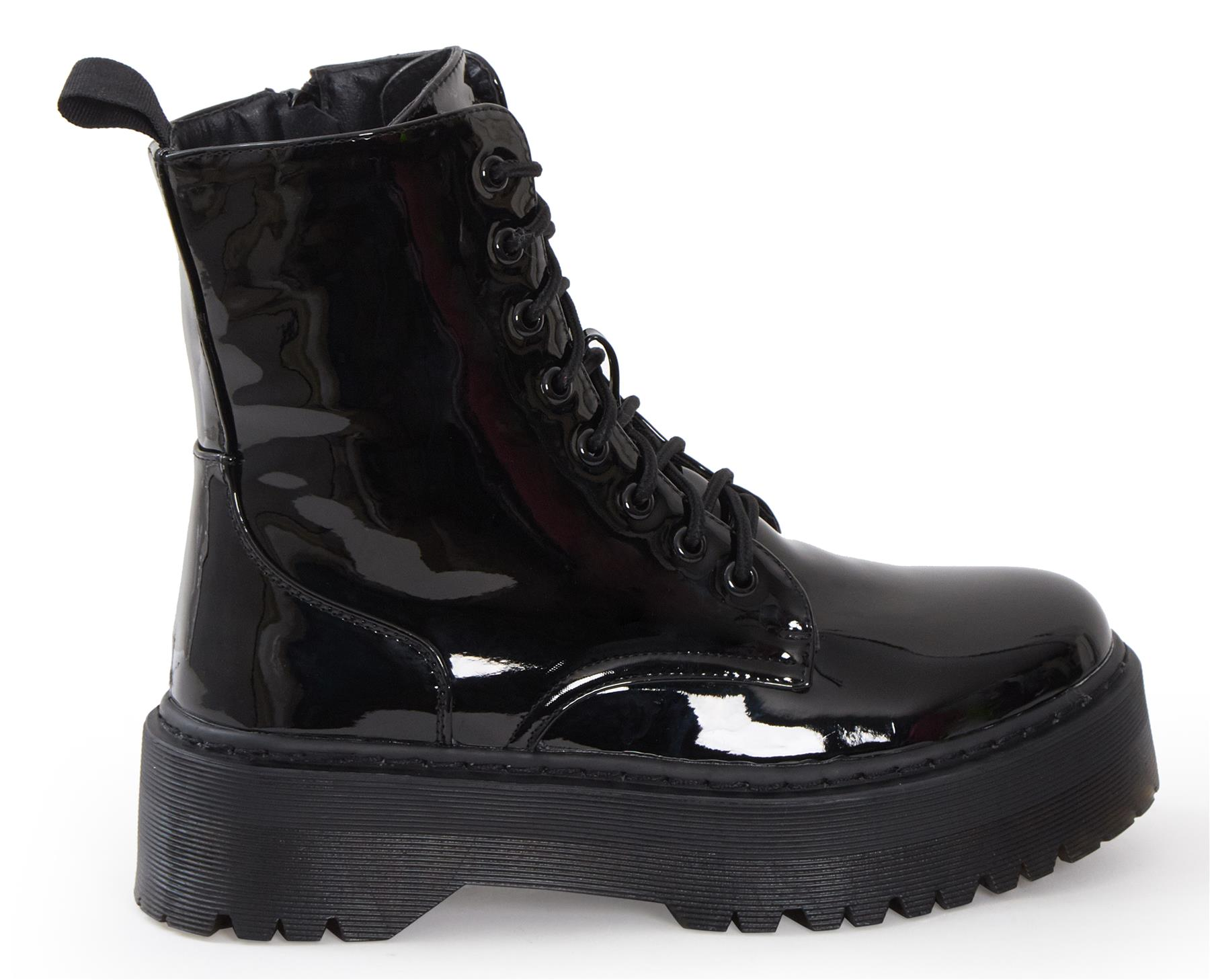 Womens-HiTop-Platform-Military-Punk-Biker-Ankle-PU-Leather-Lace-Up-Vintage-Boots thumbnail 3