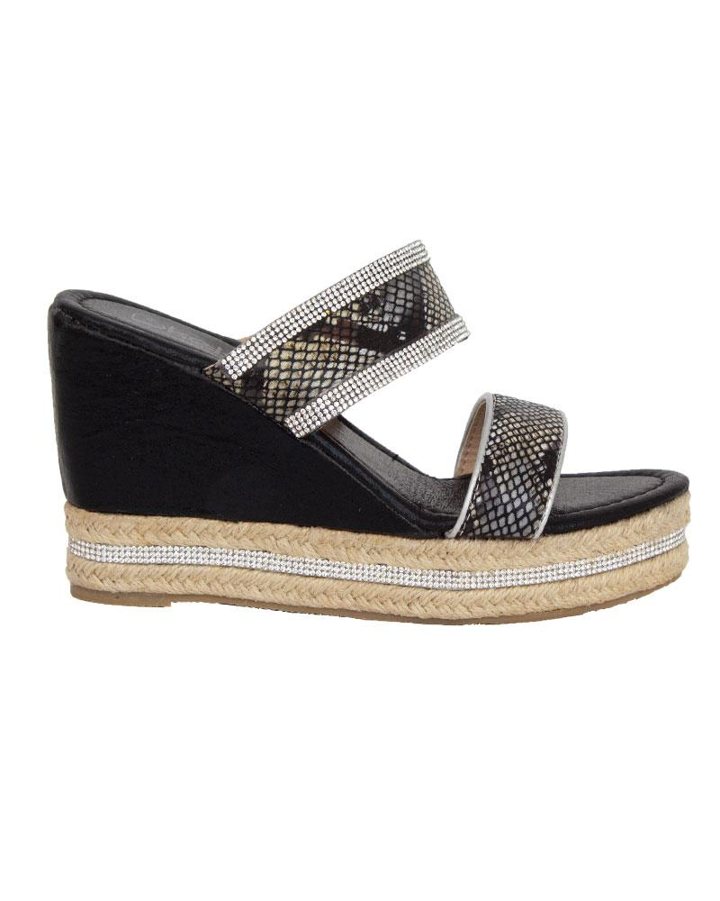 Shelikes-Womens-Sparkly-Wedge-Diamante-Slip-On-Summer-Beach-Holiday-Sandals thumbnail 4