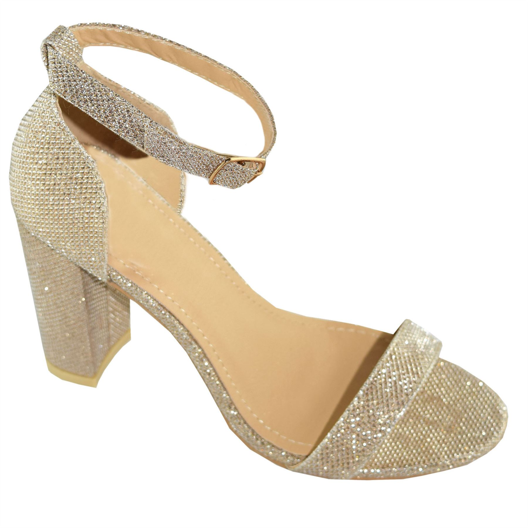New Womens Ankle Strap Sparkle Mid Block Heel Giltter Formal Casual Shoes