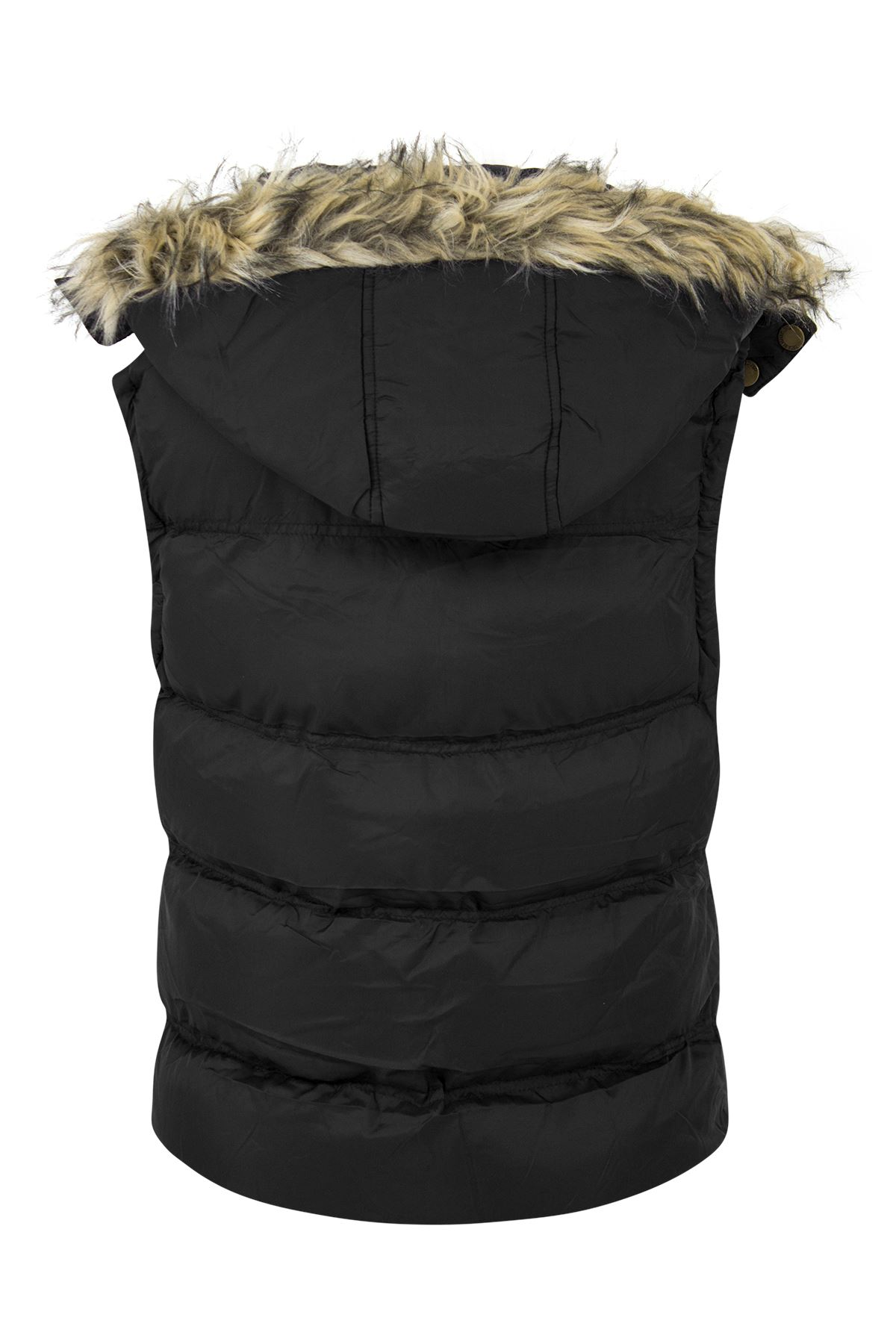 New-Womens-Padded-Sleeveless-Gilet-Faux-Fur-Hooded-Puffer-Body-Warmer-Jacket thumbnail 4