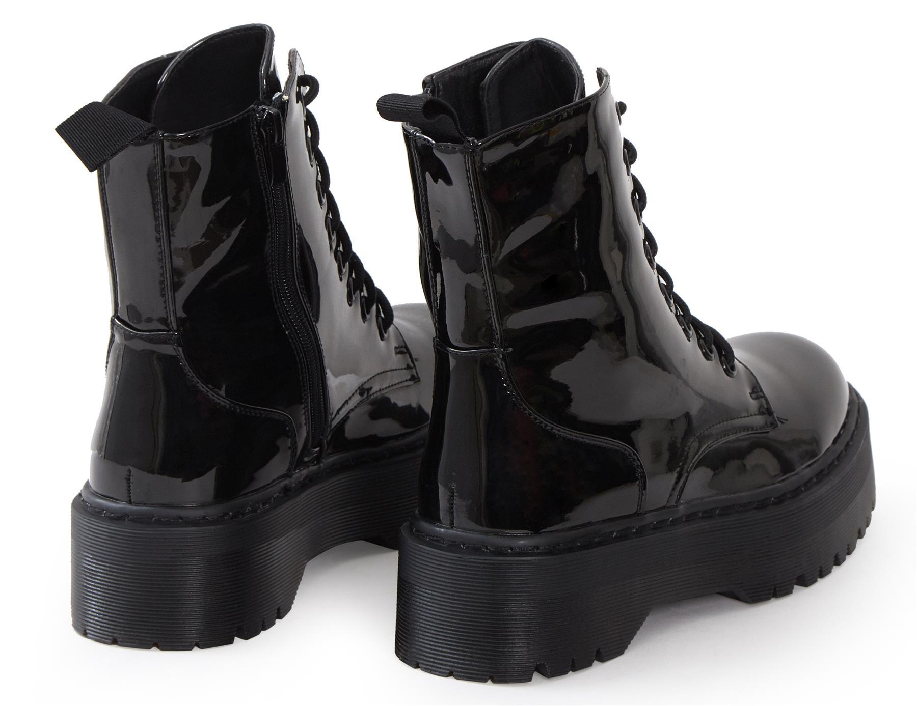 Womens-HiTop-Platform-Military-Punk-Biker-Ankle-PU-Leather-Lace-Up-Vintage-Boots thumbnail 6