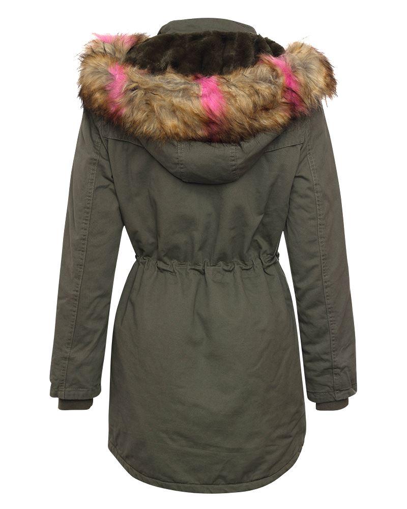 fourrure à kaki air plein long veste capuchon pour en femmes brun Manteau veste 15SqvPwP
